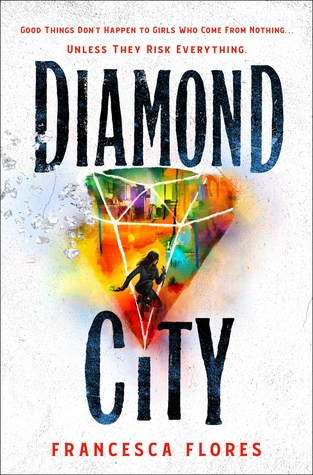 Book cover showing a girl running in a city, inside a diamond.