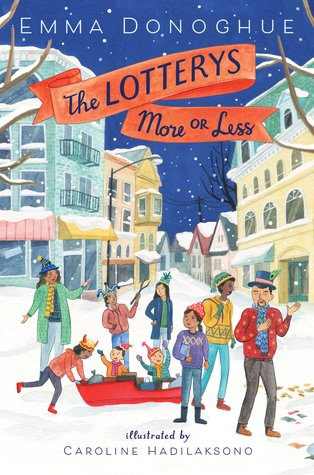 Book cover showing 9 characters standing and playing in a snowy street.