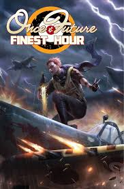 Book cover showing fighter crouching on a vehicle with lightning and plane overhead.