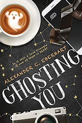 Book cover showing a ghost swirl in a latte, a camera and film.