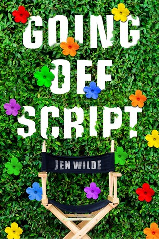 Book cover showing a director's chair against shrubbery and flowers.