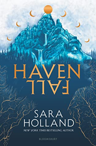 Book cover showing a girl's head made of mountain with waterfalls and many moons.