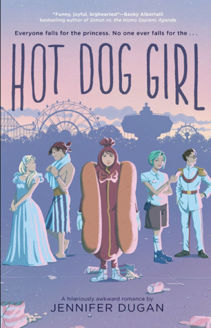 Book cover showing a person in a hot dog costume with other characters and ferris wheel in the background.