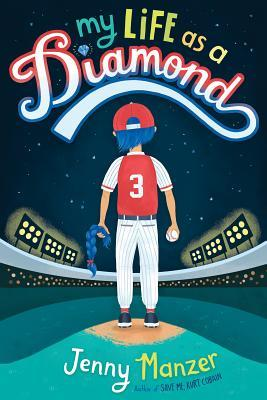 Book cover showing a figure in a baseball diamond holding a cut off braid.