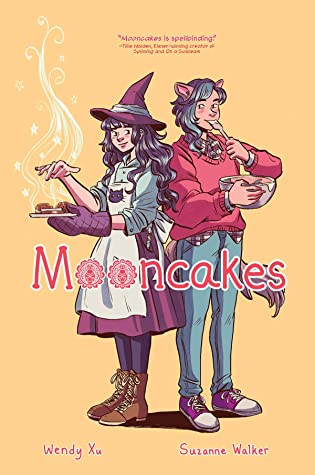 Book cover showing a witch with an oven mitt, and a werewolf eating out of a bowl.
