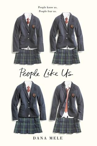 Book cover showing four schoolgirl's uniforms.