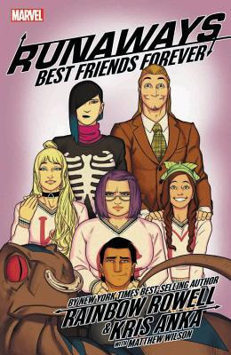 Book cover showing 6 drawn characters and a creature with nose ring.