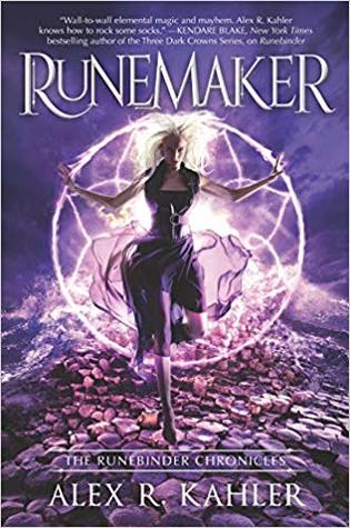 Book cover showing woman with white hair and arms outspread in front of a fiery symbol.