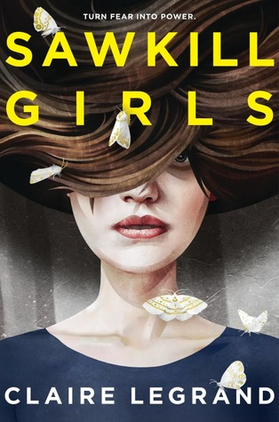 Book cover showing a girl with swirling hair and moths.