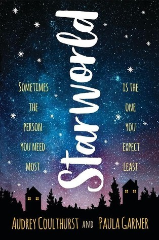 Book cover showing the night sky, with houses below.