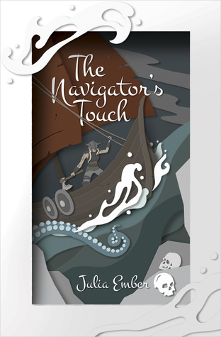 Book cover showing a pirate ship and skulls.