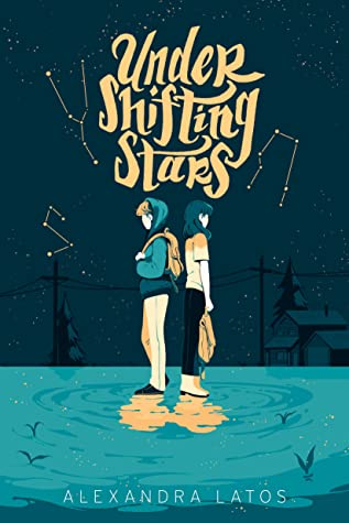 Book cover showing two characters back to back, standing on water, with constellations in the night sky.