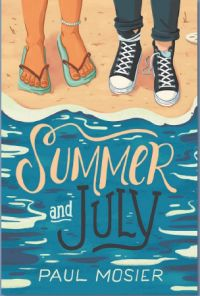 Book cover showing two pairs of feet on the beach, one in flip flops, one in sneakers.