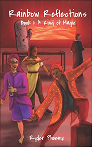 Three characters dancing while two people lurk in the background by a fiery sky.