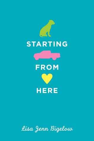 Three solid images, a green dog, a pink truck, and a yellow heart stacked down a blue background