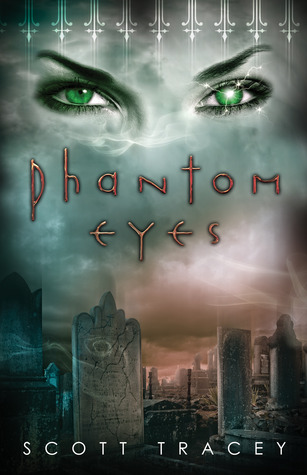 Green eyes appear in a white fog over a graveyard