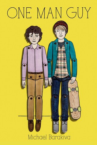 A yellow cover with an image of two white boys with short hair.  They are stylized to look like paper dolls.  One has curly brown hair and is wearing brown pants and a purple shirt.  The other boy is wearing jeans, a plaid shirt, a green jacket, a red beanie and holding a skateboard.