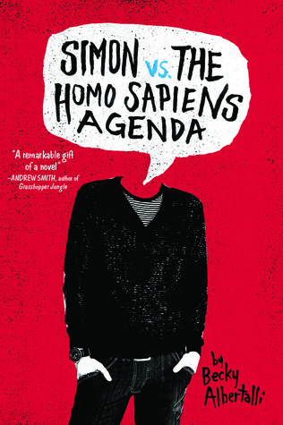 A red cover with a headless person on it dressed in black keans, a black sweater and a black and white striped t shirt.  Their head is replaced by a speech bubble with the title in it.