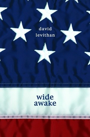 A close in of an American flag so the book cover is segmented blue white and red
