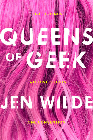 Long, hot pink hair cascading down the cover
