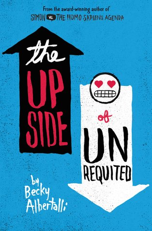 A bright blue cover with a black up arrow on the left with the words 'the upside' and a white down arrow on the right with the words 'of unrequited'.