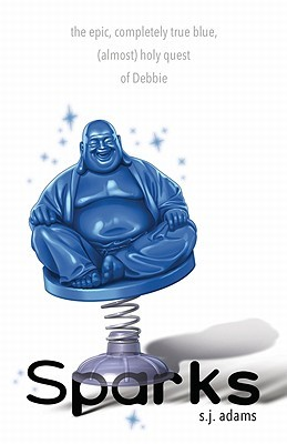 A blue bobble Buddha on a white background