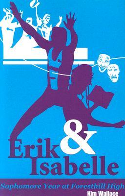 A sihlouette of two teens, one leaping in the air, one holding a book in purple over a blue background