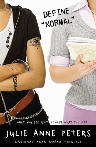 Two girls shown from the shoulder down, one in all black with tribal tattoos, the other in a preppy sweater and pink skirt holding a book