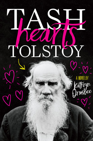 A picture of Leo Tolstoy with neon pink hearts around it