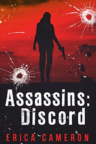 A girl stands in silhouette with a gun by her side.  The book cover also has the appearance of being shot and with bullet holes in it.