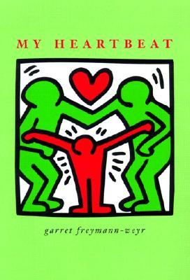 Two green figures merged at the arms and a red figure between them, pushing them apart