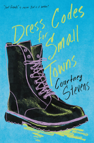 A light blue cover with a drawing of a Doc Marten boot with purple laces.