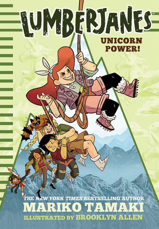 A red-haired white girl swinging at the top of a rope, with others swinging below her, with a snow-covered mountain behind them