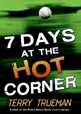A baseball flies over a green background with 7 Days at the Hot Corner typed below