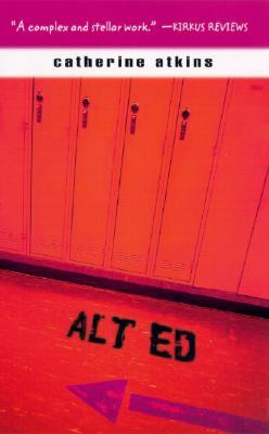 An image of red lockers with Alt Ed painted on the floor in front of them