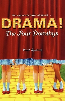Four girls stand with Dorothy's blue checkered skirts and red shoes with a red curtain curtting them off to the waist