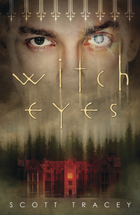 A pair of mismatched eyes look out over a red house