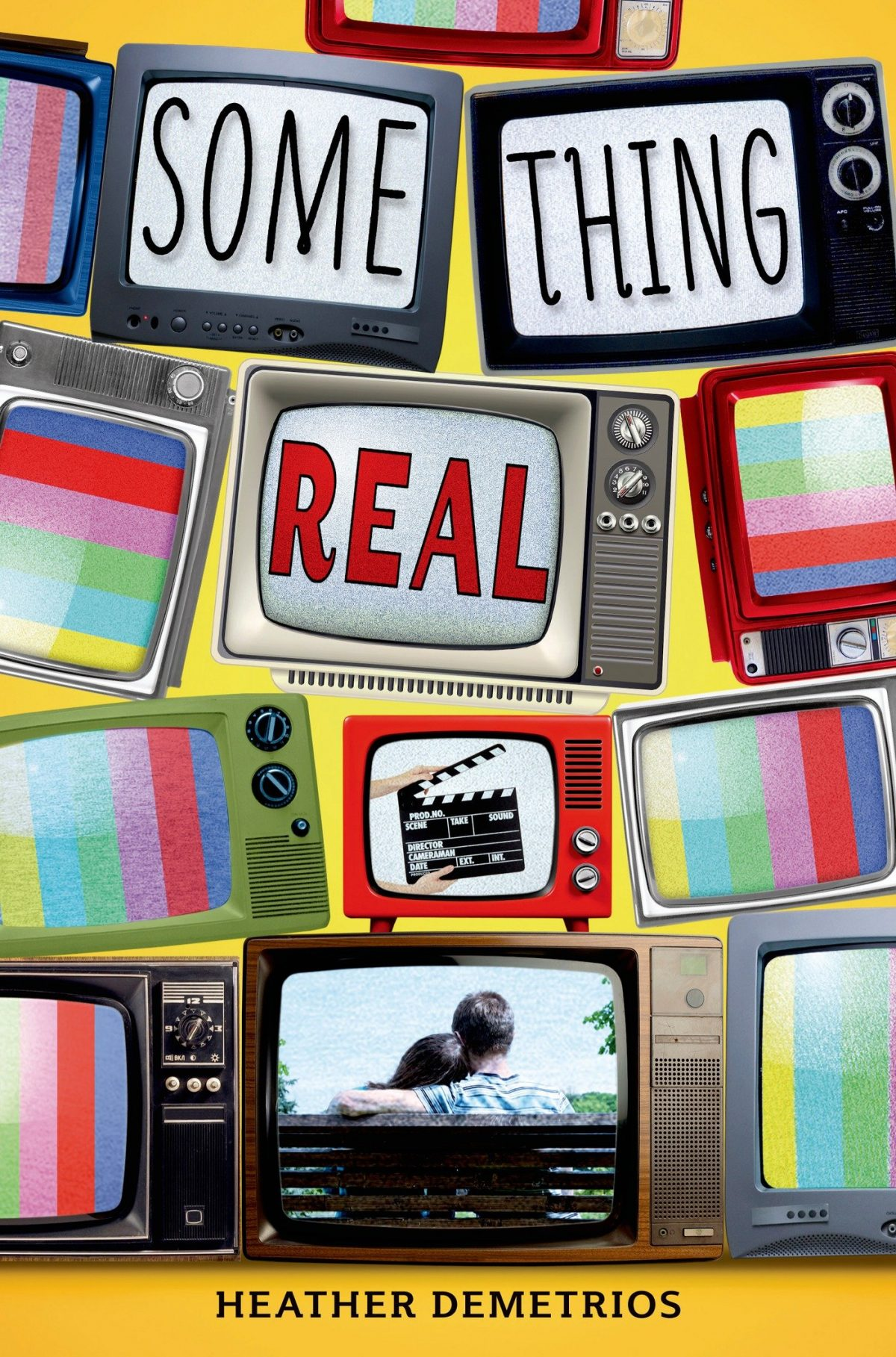 A pile of TVs, some with rainbow stripes, three with the title of the book, one with a director's slateboard clapper and one with a couple sitting on a bench, facing away from the camera and snuggling.