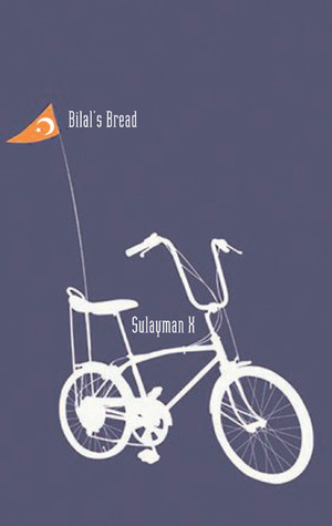 A sihlouette of a bike in white with a flag in orange that has the crescent and star over a blue background