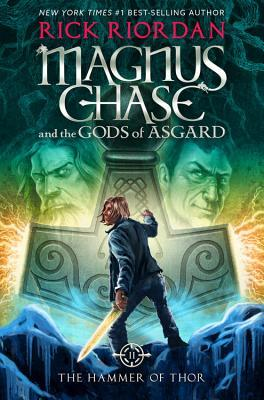 Magnus Chase facing a large hammer with two male faces on either side.