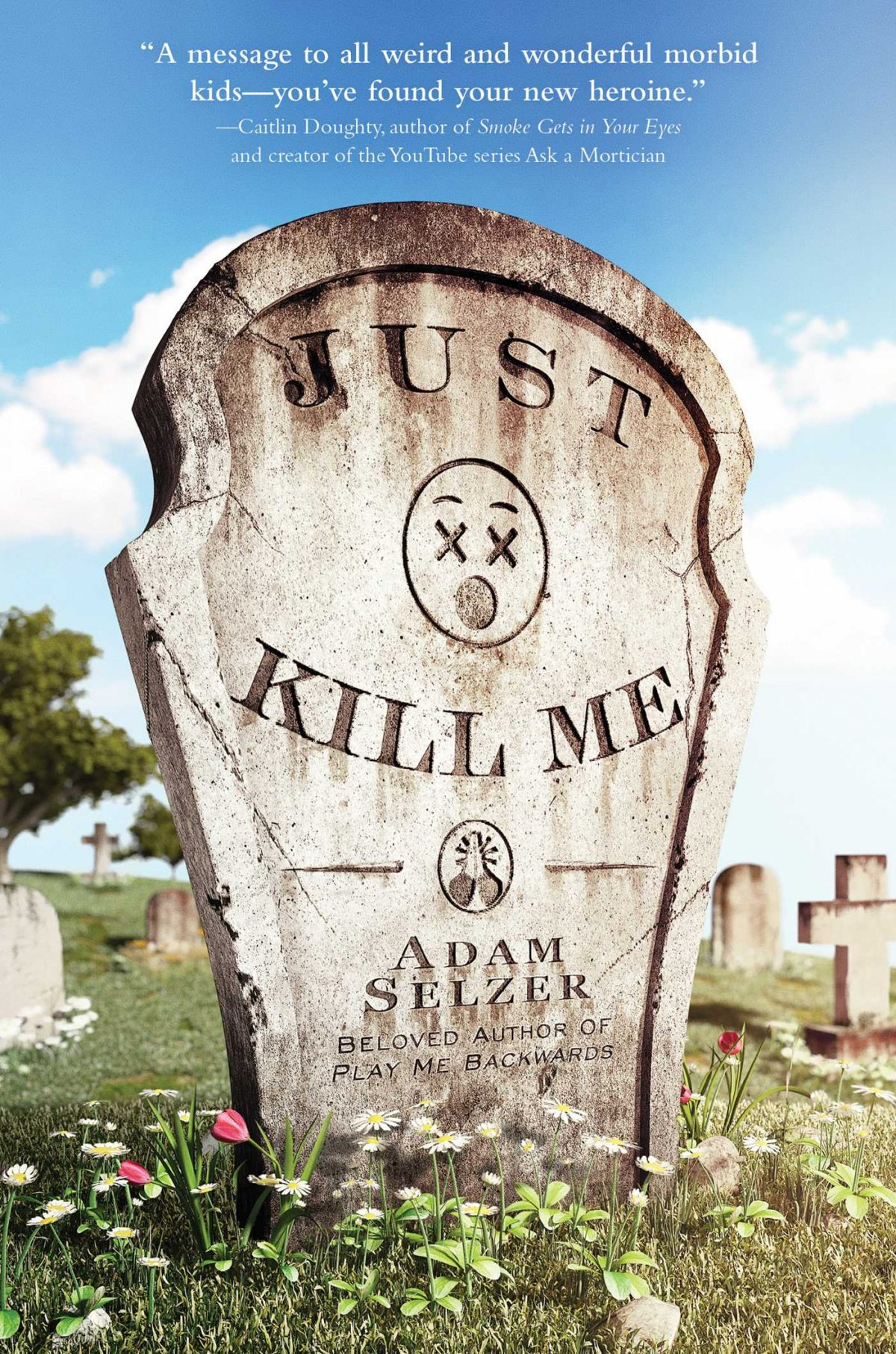 A tombstone with the title on it.