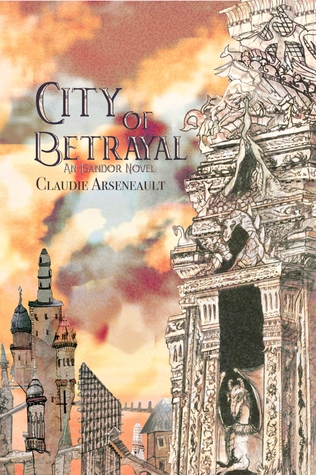Cover shows a a sky-line of a city of spires with a watercolor, orange and pink sky.  In the foreground is a building with a variety of animals carved into it.