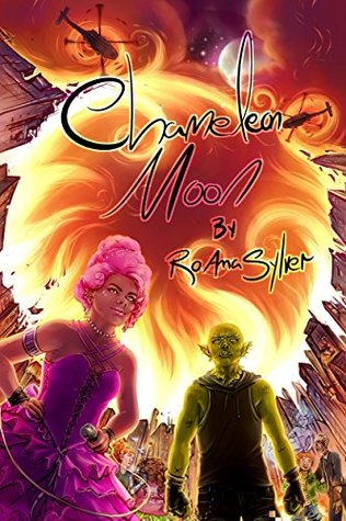 Two otherworldly people, one in a pink dress with pink hair and the other with green skin stand in front of a city as it burns.  Helicopters circle above.