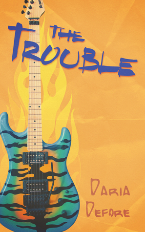 A blue and orange tiger-striped electric guitar is on the left part of the page in front of a bright, orange background.