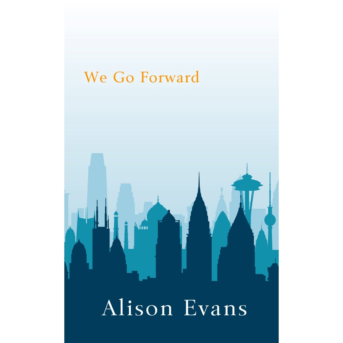 Cover is of the Seattle skyline shadow in various shades of blue.