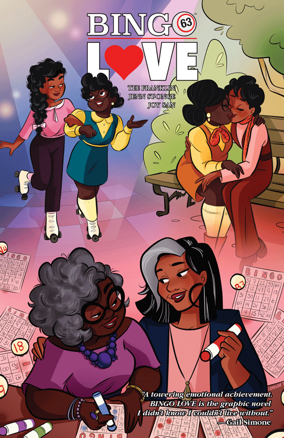 Three images of the same black, female queer couple at different times in their lives.  One is them as teenagers on roller skates, one of them is when they are slightly older kissing on a bench and one is of them as older women with gray hair playing bingo and looking at each other lovingly.