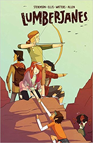 Five girls are climbing a mountain.  Four are already on top, one of those four, a girl with white skin and  long red hair, helps the last girl, with brown skin and short brown hair climb up to the peak. One of the girls already on top has white skin and is wearing a raccoon cap.  She is holding a bow and arrow in ready to shoot position.  The other two girls have brown skin and are facing in profile and looking out.  A black girl in a scouts uniform is off in the distance looking up at the girls and shaking with rage.