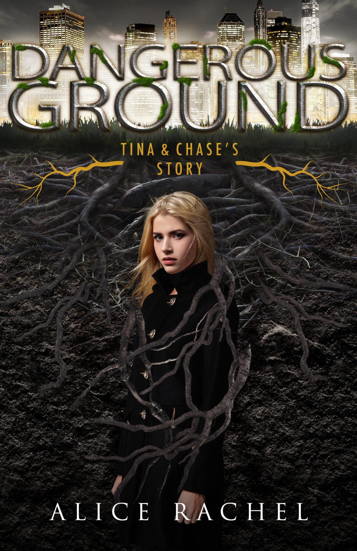 A white girl with blond hair looks over her shoulder.  She is covered in roots.  Behind her is a glowing city.