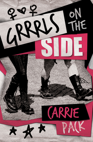 a collage style cover with a black and white photo of two pairs of legs.  One is wearing black tights and combat books and the other is bare white skin with combat boots.