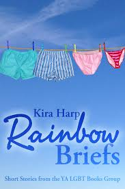 a blue sky with a clothing line with four pairs of underwear on it.  Green boxers, blue and white striped boxers, pink briefs and red striped briefs